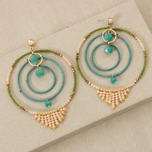 Three Fine Hoops Crystal Fringe Earrings