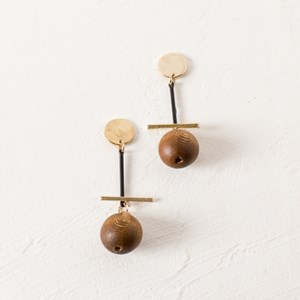 Natural Timber Ball Rod Drop Earrings