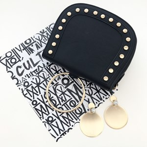 Large Disc & Jewel Earrings