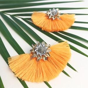 Metal Flower & Fringe Fan Earrings