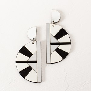 Metallic Resin Half Circle Earrings