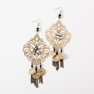 Filigree & Coin Jewel Centre Earrings