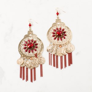 Multi Jewel Circle Coin & Chain Earrings