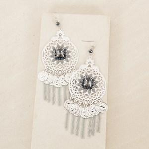 Multi Jewel Circle Coin & Chain Earrings