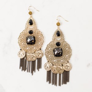 Filigree Coin & Chain Jewel Centre Earrings