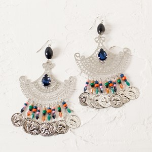 Oriental Filigree Bead & Coin Earrings