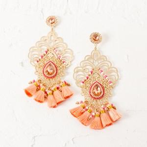 Filigree & Tassel Teardrop Jewel Earrings
