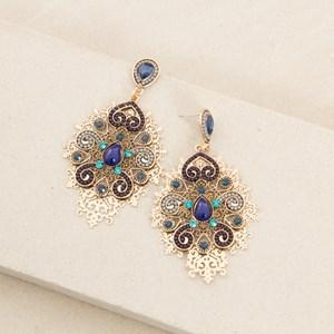 Layered Filigree & Resin Pattern Earrings
