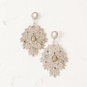 Layered Filigree & Resin Pattern Earrings