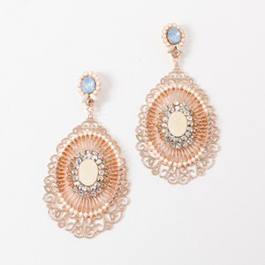 Delicate Cutout Metal Jewel Earrings
