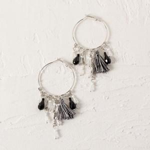 Tassel & Crystal Hoop Earrings