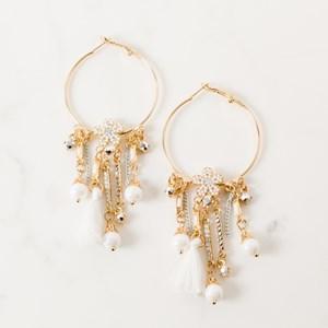 Flower Crystal & Tassel Hoop Earrings