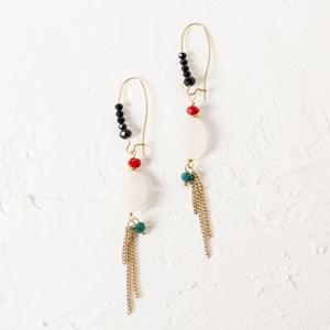 Natural Crystal & Chain Drop Earrings