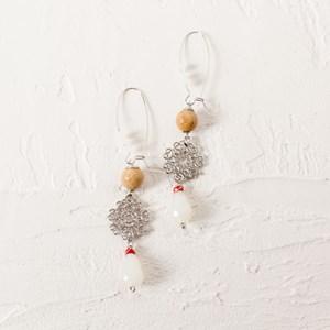 Natural Stone & Crystal Filigree Earrings