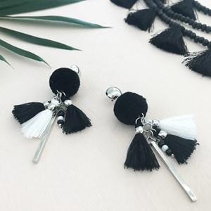 Pom Pom & Mini Tassel Earrings