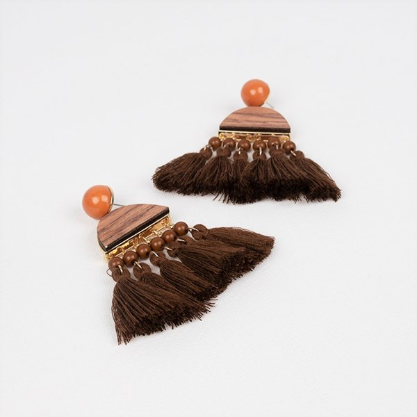 Half Circle & Multi Tassel Earrings