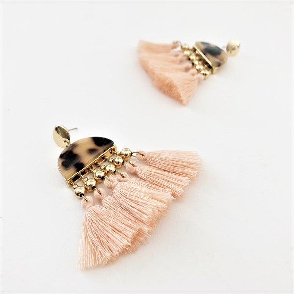 Half Circle & Multi Tassel Earrings