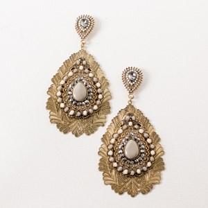 Multi Layer Filigree & Jewel Teardrop Earrings