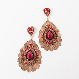 Multi Layer Filigree & Jewel Teardrop Earrings