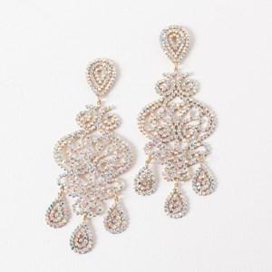 Large Diamante Filigree Multi Drop Earrings