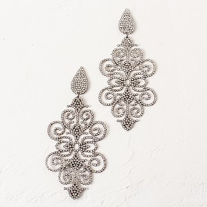 Large Diamante Filigree Earrings