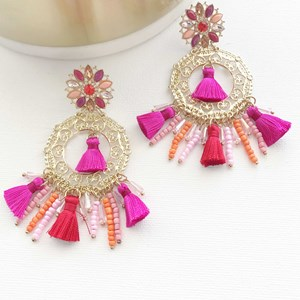 Jewel Tassel & Bead Circle Earrings