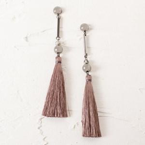 Fine Rod Ball & Tassel Earrings