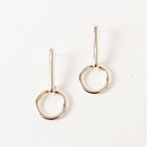 Rod and Circle Drop Event Earrings