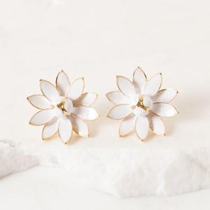 Enamel Lotus Flower Earring