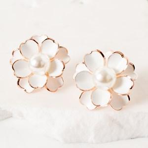 Pearl Centre Enamel Flower Earring