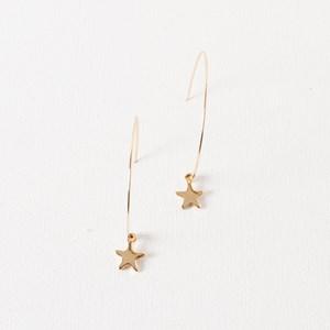 Fine Hoop Star Drop Earring
