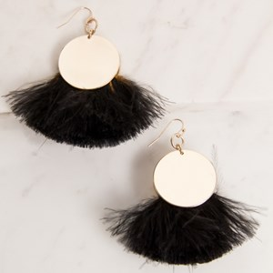 Double Disk Feather Fringe Earring
