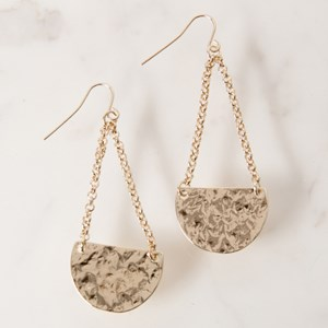 Pitted Half Crescent Chain Drop Earring