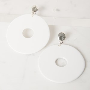 Resin & Metal Large Disc Earring