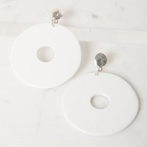 Resin & Metal Large Disc Earring