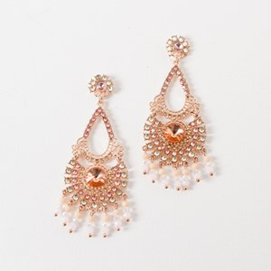 Beaded Droplets Diamante Earring
