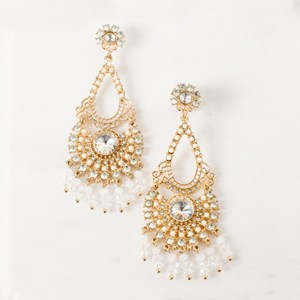 Beaded Droplets Diamante Earring