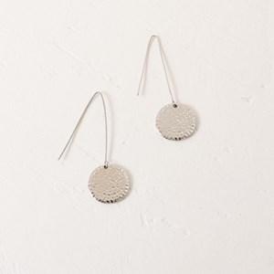 Beaten Disk Almond Hook Earring