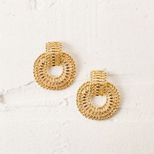 Dot Chain Circle Stud Earring
