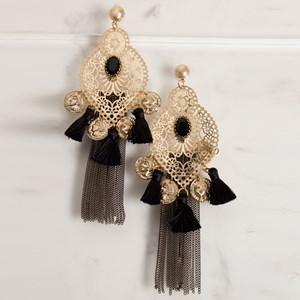 Filigree Almond Coin Chain Drops Earrings