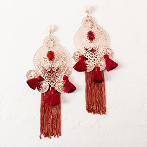 Filigree Almond Coin Chain Drops Earrings