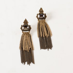 Jewelled Double Chain Statement Earring