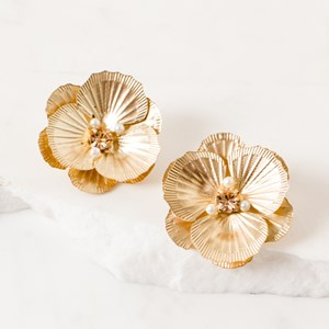 Layered Pansy Stud Earring