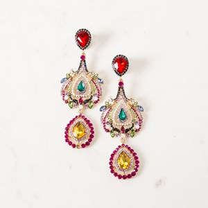 Three Drop Jewelled Statement Earrings
