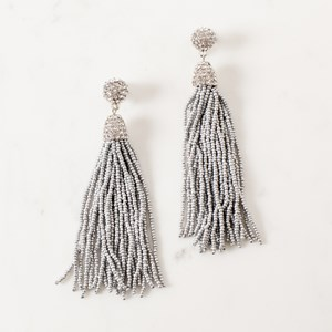 Diamante Capped Long Tassel Earring