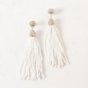 Diamante Capped Long Tassel Earring