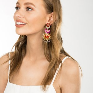 Floral Jewelled Drop Earring