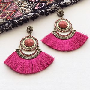 Fringed Diamante & Stone Statement Earring
