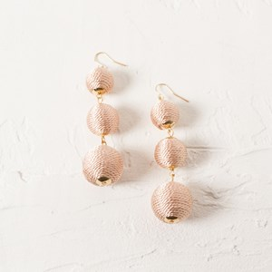 Three Drop Covered Balls Earrings
