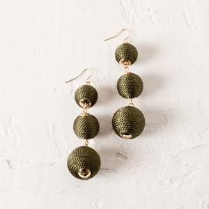 Three Drop Covered Balls Earrings